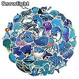 BLOUR Blue Ocean Cartoon Marine Animal Fish Doodle Stickers para Laptop TV Nevera Bicicleta Impermeable Decal Toy para niños 49pcs / Set