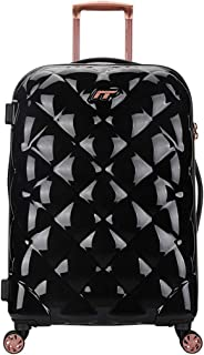 Students Trolley Suitcase, Stylish Simple Rhombic Unisex Hard Cabin Carry-On Hand Luggage Bag 360°Mute Spinner Wheels TSA Lock,Black,28inch