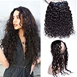 Maxine Water Wave Hair 360 Lace Frontal Closure Pre Plucked With Wet and Wavy Human Hair Bundles Malaysian Virgin Hair with Baby Hair Bleached Knots Natural Color(20 22 24 with 18 Frontal)