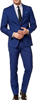 Mens Suit Plaid Notch-Collar Two Button Wool Blue 38
