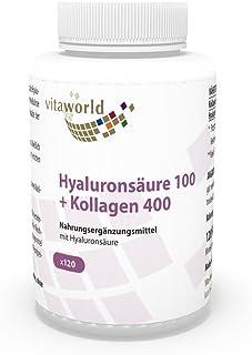 Ácido Hialurónico 100mg + Colágeno 400mg 120 Cápsulas Vegetales - Vita World