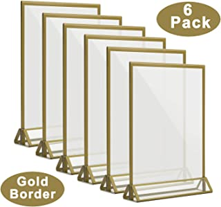 CRUODA Acrylic Double Sided Frames Display Holder with Vertical Stand and 3mm Gold Border for Wedding, Menu Holders, 5 x 7 Inches (Pack of 6)