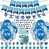 78Pcs Birthday Party Supplies For Lilo and Stitch Includes Birthday Party Banner - Cake Topper -Lilo and Stitch Banner - 12 Cupcake Toppers - 12 Balloons - 50 Stitch Stickers