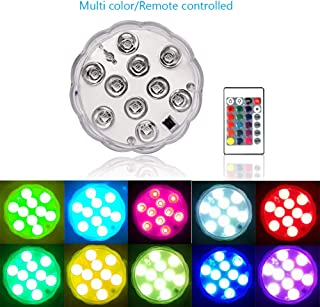nobrand Submersible LED Lights,Underwater Waterproof RGB Changing Pool LED Lights Battery Powered with Remote Controlled f...