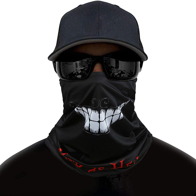 Adjustable Neck Gaiter Face Cover, Dust Sun UV Protection Bandana Scarf Shield