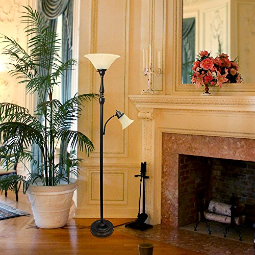 Elegant Designs LF2003-RBZ 2 Light Mother/Daughter Floor Lamp, 3.9, Restoration Bronze/White