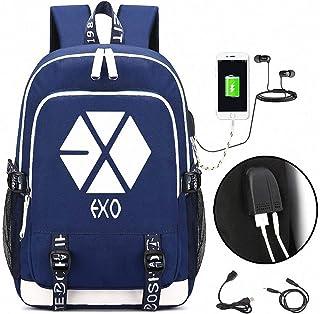 USB Charging Backpack, EXO Backpack, Travel Canvas Daypack, with Lock Slim Water Resistant Bag, High School Bookbag for Teens Girls Boys