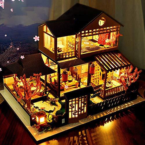 TOPmountain - Juego de muebles de cabina japonesa de madera para casa de muñecas en miniatura, estilo japonés 3D, para Navidad, cumpleaños