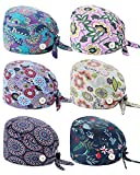 WAINIS 6 Pcs Cute Cotton Printed Working Cap with Button Sweatband Adjustable Tie Back Bouffant Hat for Women Men