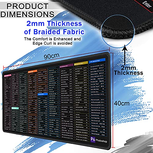 RiaTech Extra Large (900x400mmx2mm) Gaming Extended Mouse Pad, Thick Non-Slip Rubber Base & Smooth Cloth Surface Keyboard Mouse Pads for Computers, Laptop (Office Software English Shortcut)