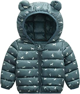 Xifamniy Infant Baby Long Sleeve Wadded Jacket Solid Color Cartoon Animals Print Coat