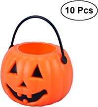 LUOEM 10pcs Halloween Portable Pumpkin Bucket Children Trick or Treat Pumpkin Candy Pail Holder Halloween April Fool 's Da...