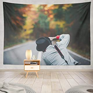 Kutita Autumn Nature Tapestry, Wall Hanging Tapestry Man Fashion Wearing Denim Jacket and Black Hat Taking with Wall Tapestry Dorm Home Decor Bedroom Living Room in 80X60 inch