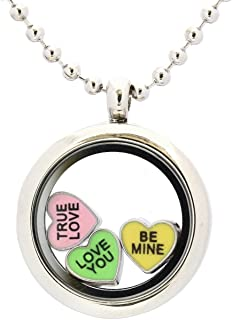 Candy Heart Locket Charm Set with Magnetic Locket, Necklace & 3 Floating Locket Charms for Valentines Day