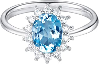 Sterling Silver 2.1 Carats Genuine Natural Swiss Oval Cut Blue Topaz Halo Celebrity Engagement Ring Fine Jewelry for Women Girls