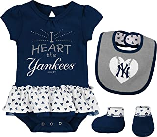 Outerstuff MLB Newborn & Infants Girls Baseball Girl Creeper, Bib, Bootie Set