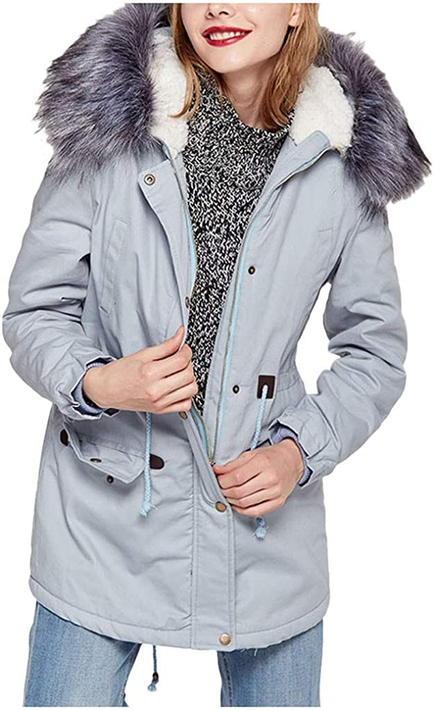 UOFOCO Jackets for Women Winter Fleece Hooded Over item handling ☆ Sales of SALE items from new works Long Sleeve Outdoo