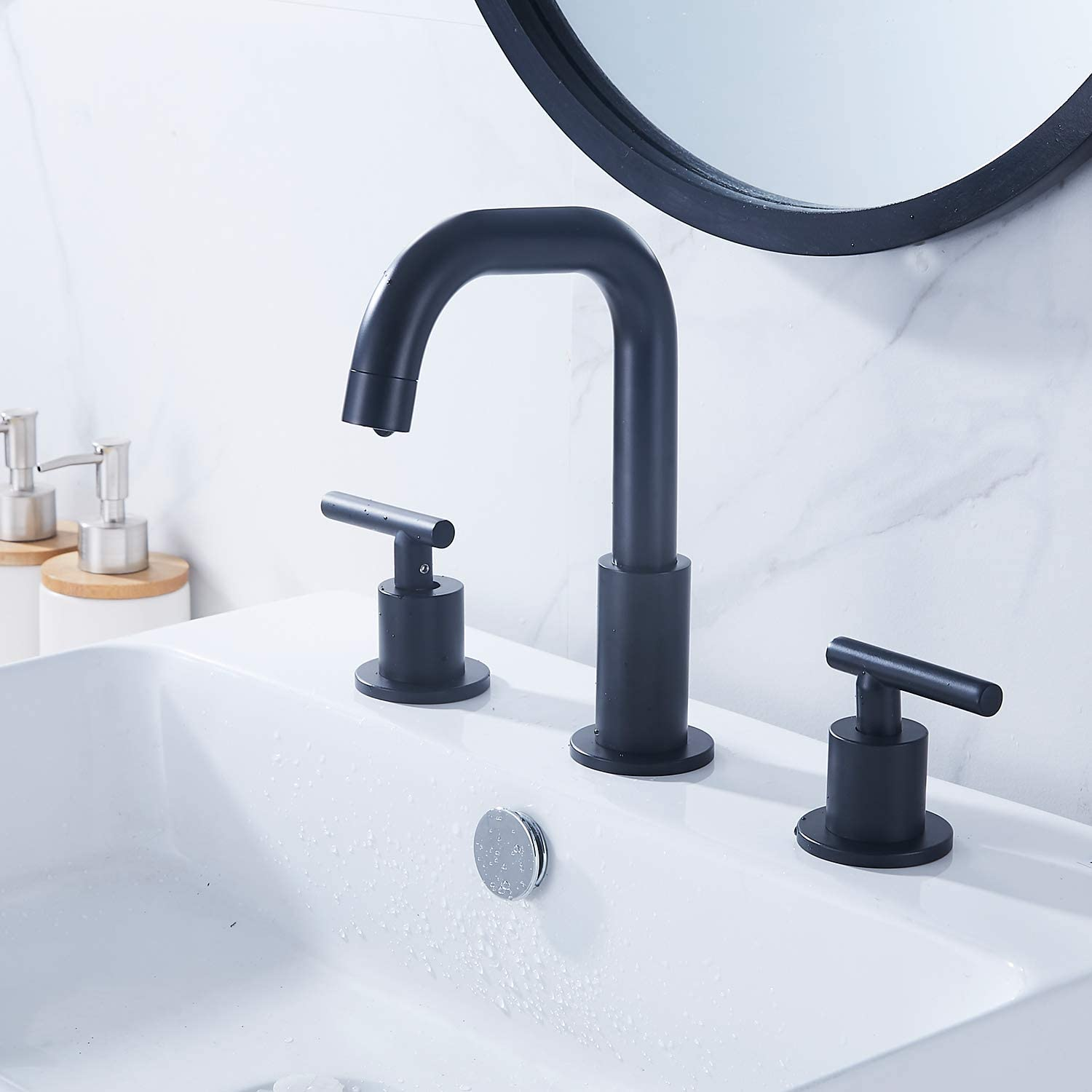 GGStudy 360/° Swivel Spout 2 Handles 3 Holes 8inch Widespread Bathroom Sink Faucet Antique Brass Matching with Pop Up Drain Bathroom Vanity Faucet
