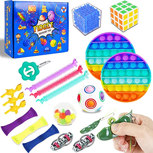 Ozio 20 Pack Fidget Figetget Sensory Toy Box Figets Figit Figet Toys Packages Stress Relief Autism Anxiety ADHD Toys Sets Kit Game Gift Popits Popitz Special Need Teen Adult