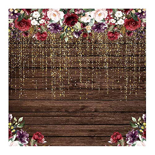 Funnytree 6x6ft Rustic Wood Flowers Photography Backdrop Golden Glitter Floral Birthday Party Background Bachelorette Bridal Shower Wedding Girl Adult Anniversary Decorations Banner Photo Studio