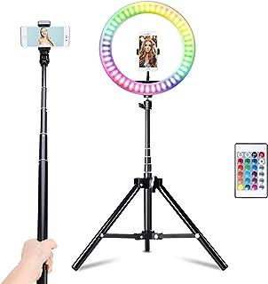 Vingtank Aro de Luz con Trípode, Anillo de luz RGB de 10.2 Pulgadas con Soportes para Teléfonos Móviles, 16 Colores, 10 Br...