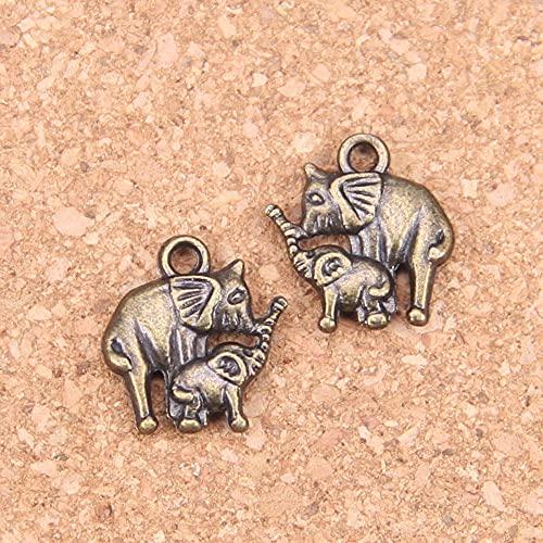 WANM Colgante 18 Piezas Encantos para Hacer Joyas Mamá Y Bebé Elefante 16X14Mm Colgantes Chapados En Plata Antigua Collar De Plata Tibetano Hecho A Mano