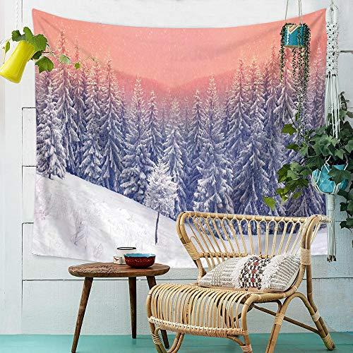Bosque naturaleza arte tapiz macramé colgante de pared decoración boho montaña dormitorio cabecera Mural tela de pared alfombra 150x201 CM
