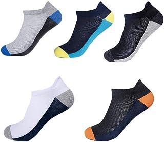 LLFS, Calcetines de corte bajo para hombre, muy cómodos, de algodón, casuales, antideslizantes, 5 pares, calcetines para hombre