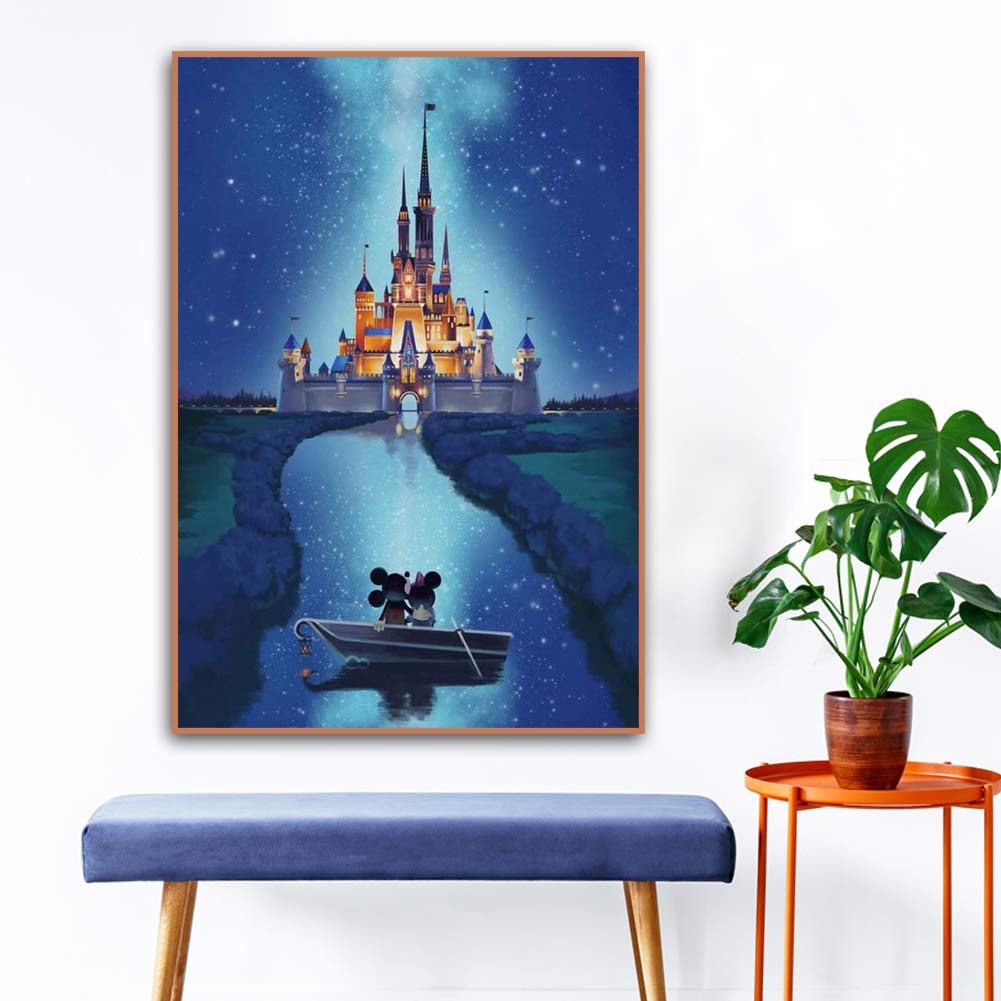 DIY 5D Diamond Painting Kits, Full Drill Diamond Painting with New Upgrade Toolkit, Perfect for Parent Child Activity and Child Gift(Castle,12x16inch)