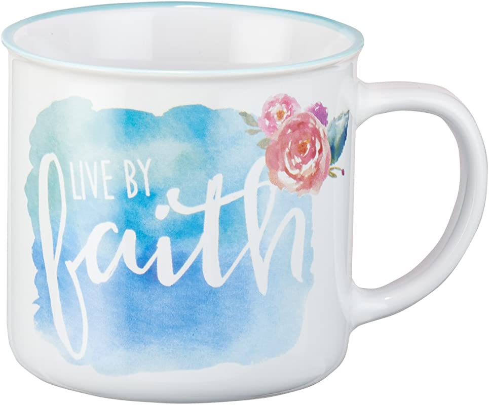 Mug Live By Faith Watercolor Collection White