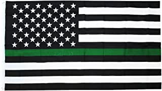 Time Roaming 3x5 Ft Thin Green Line USA Polyester Flag with Brass Grommets