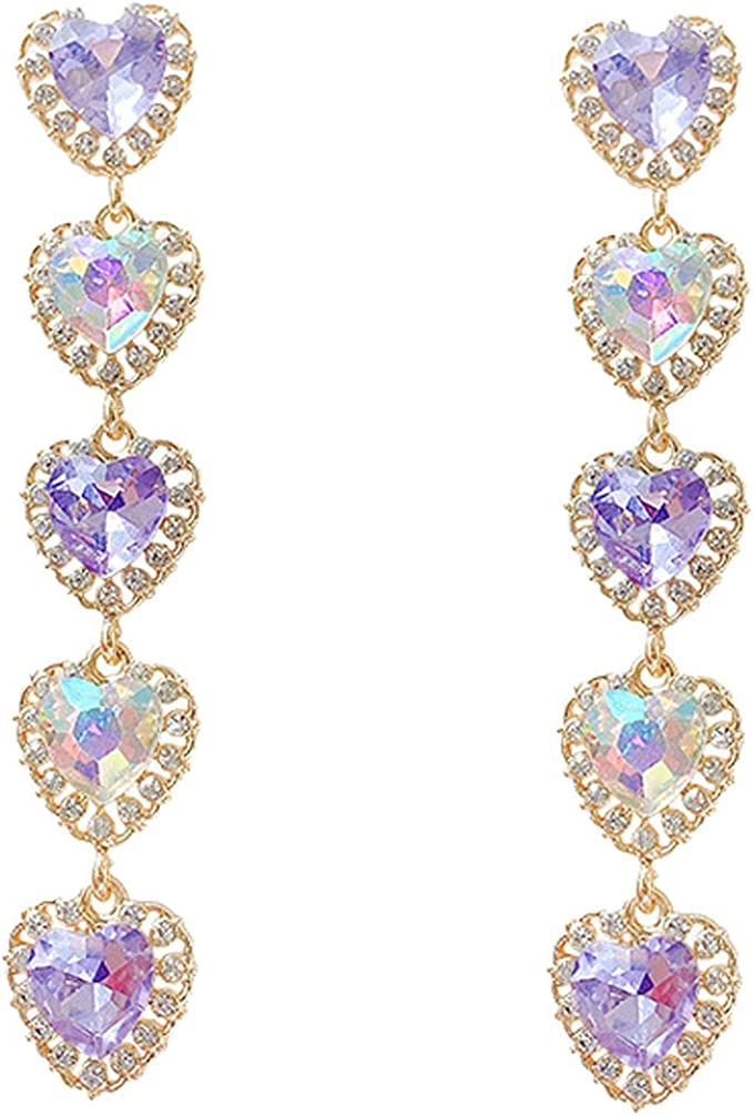 Shiny Crystal Heart Shaped Dangle Clip on Earrings for Women Teen Girls Gifts Long Drop Layered Hoop Ear Clips Screw Back Adjustable Gold Plated Fashion Non Pierced Punk Jewelry Inlaid Rhinestone