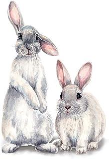 KILIK Två söta kaniner väggklistermärken barn barnrum heminredning avtagbar vardagsrum sovrum väggmålning kanin tapeter