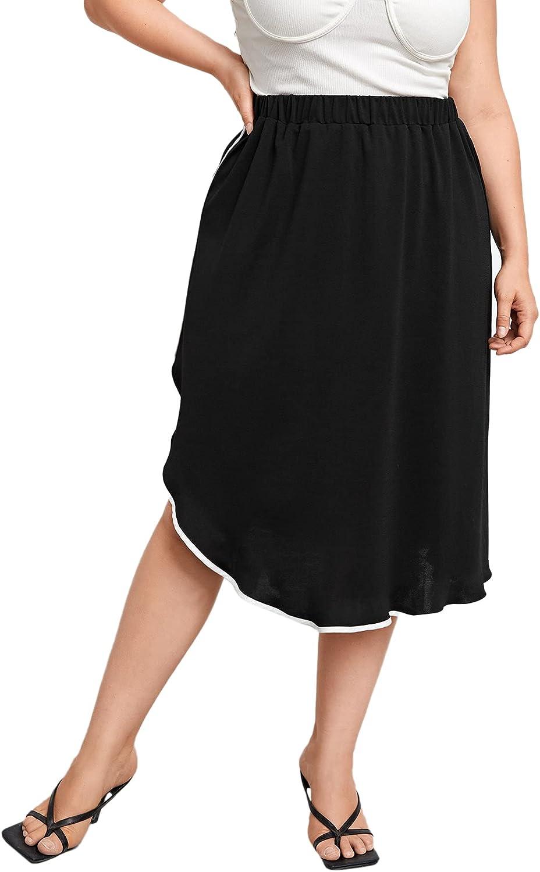 Milumia Women's Plus Size Casual Asymmetrical Hem Elastic High Waisted Midi Skirt