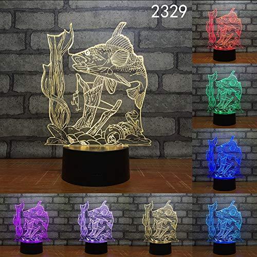 Farbwechsel Schlafzimmer große Fische Angeln Schmetterling Hobby Nachtlicht Dekoration geeignet für Angeln Hobby Geschenk Tischlampe