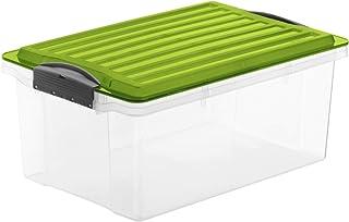 Rotho Compact Boîte de Rangement 13L avec Couvercle, Plastique (PP) sans BPA, Verte/Transparente, A4/13L (39,5 x 27,5 x 18...