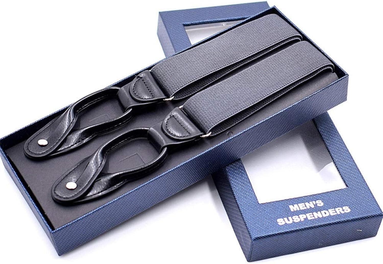 Men's Y- Adjustable Clips Leather Button End Soild Dress Suspenders Braces (color   C8)