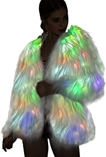 Led Fur Coat for Women Rainbow Sparkly Light Up Jacket White Furry Rave Costume