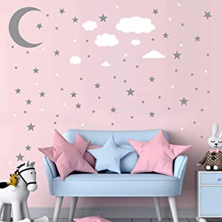 DIY Moon and Stars Wall Decals, MOCOLOM Removable PVC Clouds Peel and Stick Wall Stickers, Starry Sky Wall Decor Mural for...