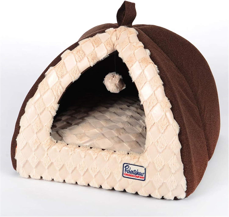 Foldable Washable Warm Velvet Castle Dog Cat Puppy House Tent Shape House