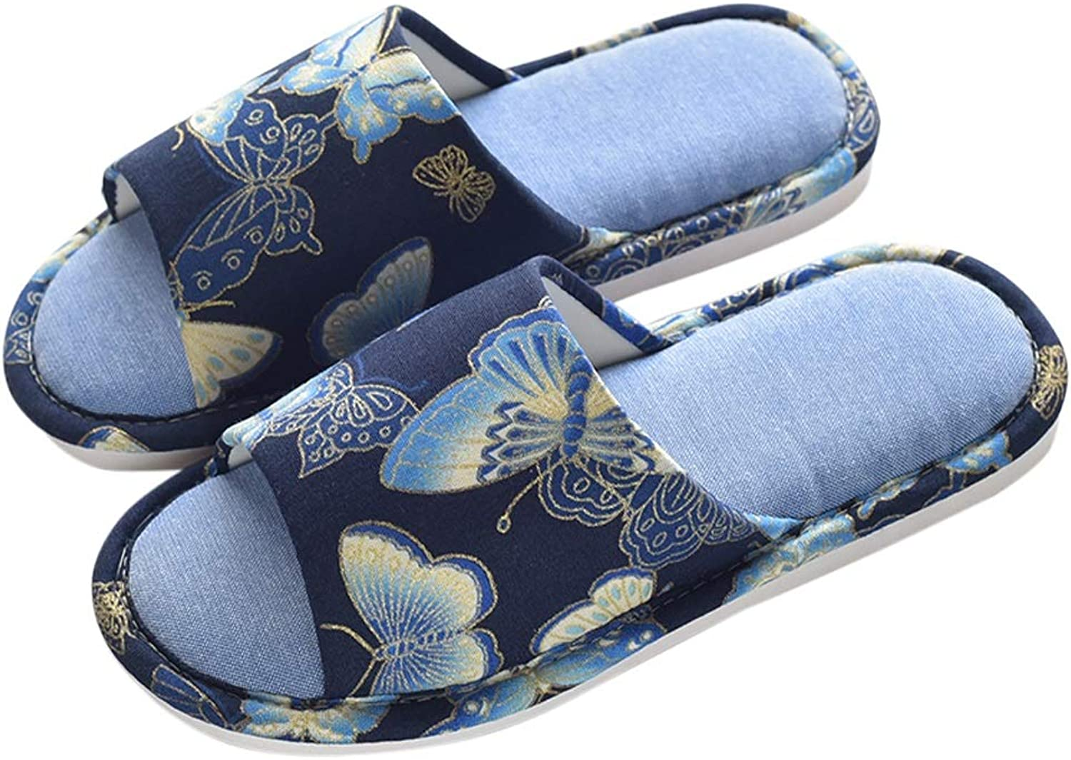 HUYP Home Non-Slip Female Summer Indoor Fashion Slippers Home Girl Indoor Four Seasons (color   bluee, Size   37)