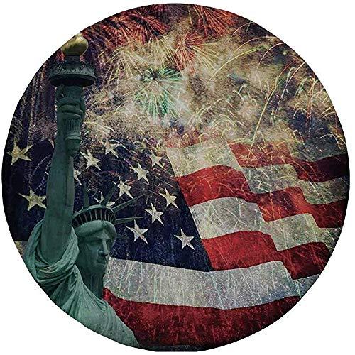Antislip rubber ronde muismat, Amerikaanse vlag decor, composiet foto van staten Idols met vuurwerk op achtergrond 4 juli, Multi