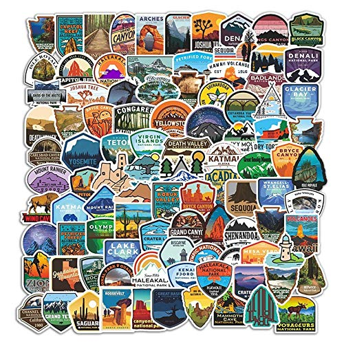 National Park Sticker Pack (100 pcs) Adventure Nature Stickers Outdoors Hiking Camping Travel Wilderness Stickers Suitcase Decals for Car Bumper Luggage Laptop Water Bottle (GlibertVillageGoods)…