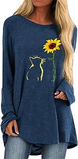 QitunC Womens Long Sleeve Tunic Tops Casual Sunflower Print Crew Neck Sweatshirt Loose T Shirt Blouses