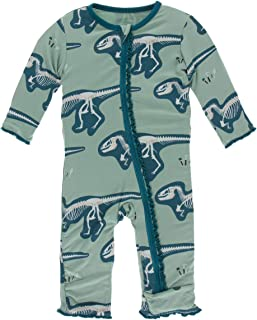 KicKee Pants Print Muffin Ruffle Coverall with Zipper (18-24 Months, Shore T-Rex Dig)