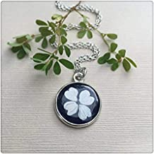 Pink rose Dogwood Flower Silver Necklace, Dome Glass Jewelry, Pure Hand-Made