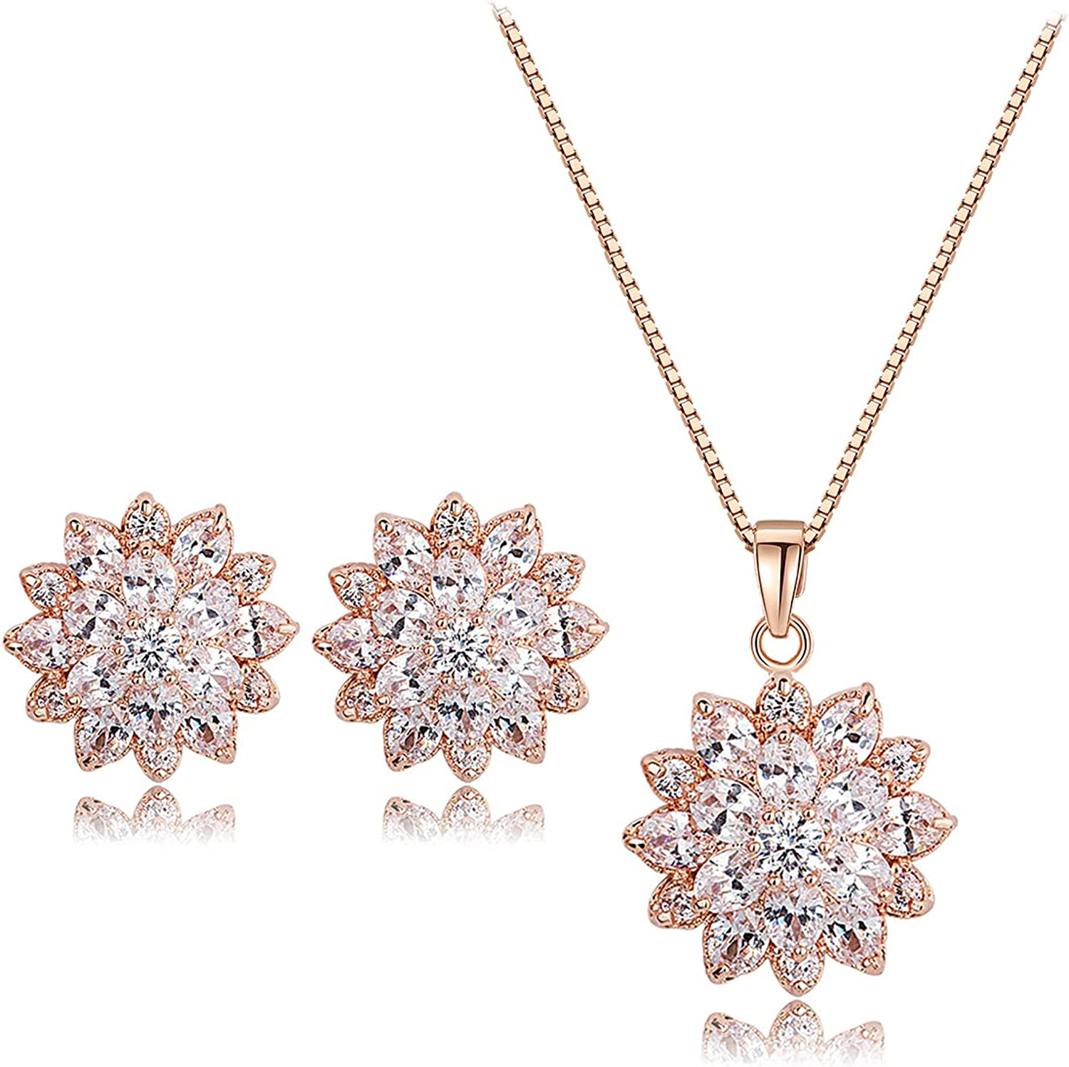 UDYLGOON Cubic Zirconia Flower Earrings Necklace Jewelry Sets Bridal Wedding Prom Birthday Anniversary Mother's Day Jewelry Gifts for Women Mom Wife Sister Best Friends
