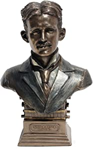 Nikola Tesla Bust Statue Cold Cast Bronze 7 1/2 Inch Tall