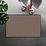 Brown Universal Door mat Wave Like White Zig Zags Geometrical Retro Tribe Inspired Shaped Art Print Door mat Floor Decoration W15.7 x L23.6 Inch Dark Brown and White