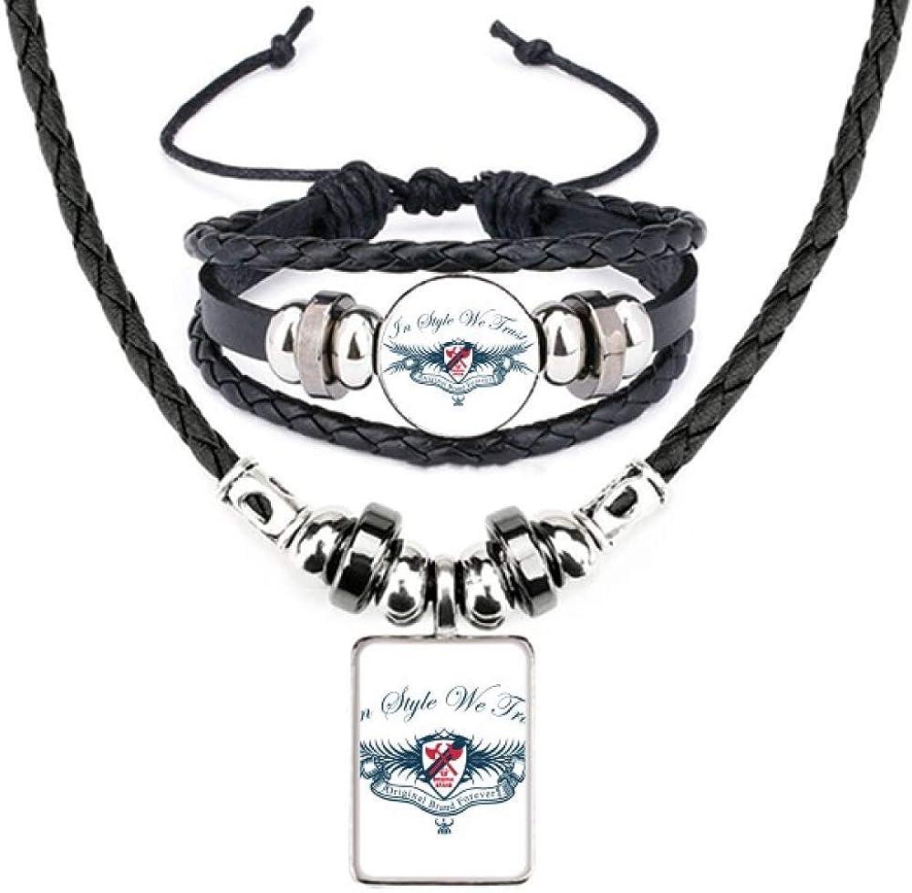 Original Medieval Knights of Europe Emblem Leather Necklace Bracelet Jewelry Set